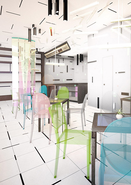 Cafe – Floating Space Concept (Interior Design)